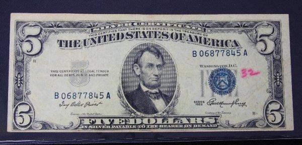 7: 1953 $5.00 Lincoln Silver Certificate PM421