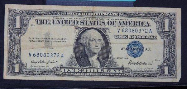 13: 1957 $1.00 Washington Silver Certificate PM1163