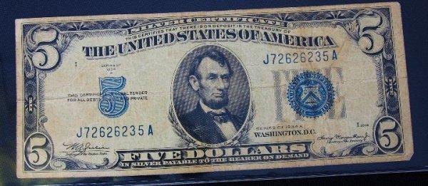 16: 1934 $5.00 Lincoln Silver Certificate PM391