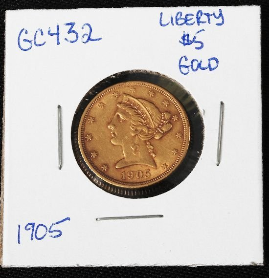 18: 1905 Liberty Head $5.00 Gold Coin GC432