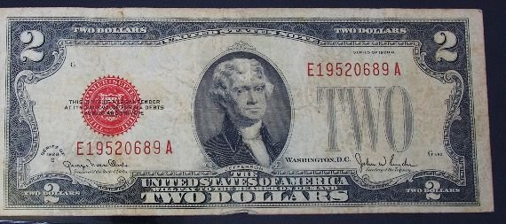11: 1928 $2.00 Jefferson Red Seal Bill PM245