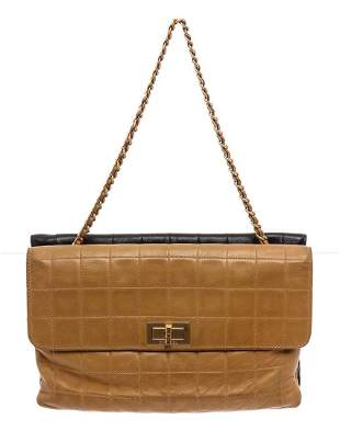 Chanel Beige Black Square Quilt Double Sided Flap Bag