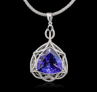 14KT White Gold 11.31 ctw GIA Certified Tanzanite and