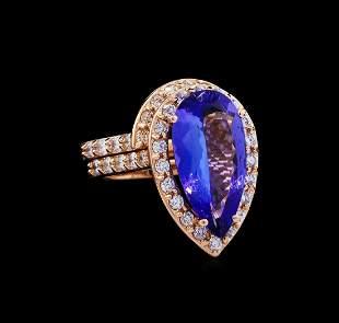5.53 ctw Tanzanite and Diamond Ring Set - 14KT Rose