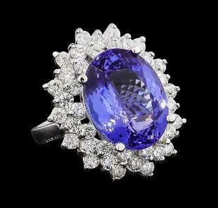 GIA Cert 11.27 ctw Tanzanite and Diamond Ring - 14KT