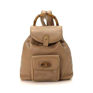 Gucci Tan Mini Leather Bamboo Backpack