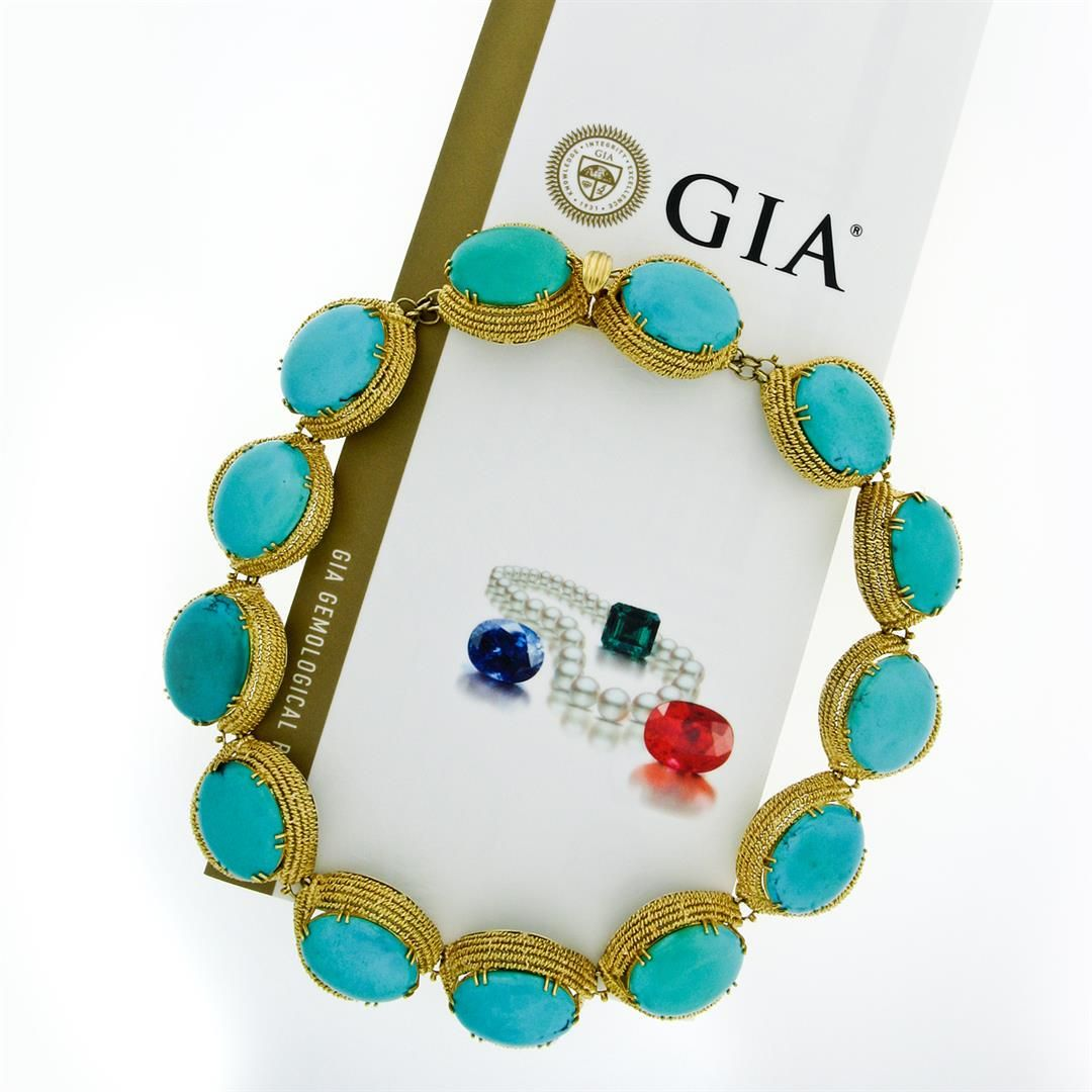18k Yellow Gold GIA Certified Large Cabochon Greenish