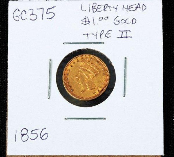 3: 1857 Liberty Head Type 2 $1.00 Gold Coin GC375