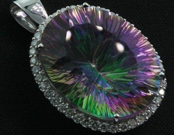 13A: Quartz & Diamond Large Pendant 13.30 grams FJ72