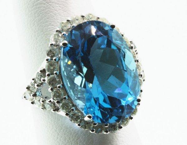 296: Blue Topaz & Diamond Large Pendant 13.30 grams FJ7