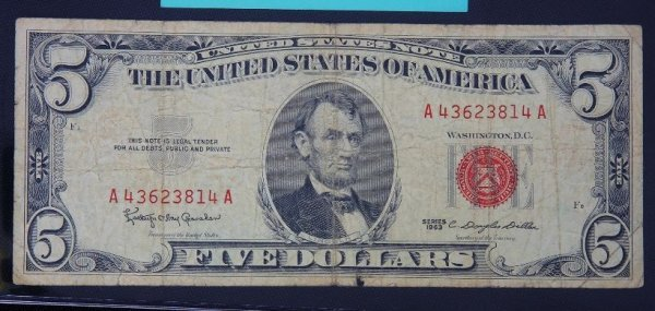 12: 1963 $5.00 Lincoln Red Seal Bill PM910