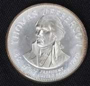 527: Thomas Jefferson 33.1gm. Sterling Silver President