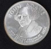 490: John Adams 33.1gm. Sterling Silver Presidents #5