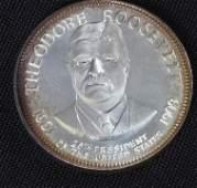 40: Theodore Roosevelt 33.1gm. Sterling Silver Presiden