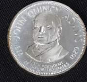886: John Quincy Adams 33.1gm. Sterling Silver Presiden