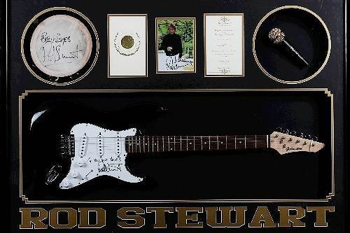 1: Rod Stewart Autographed Guitar / Photo Collage