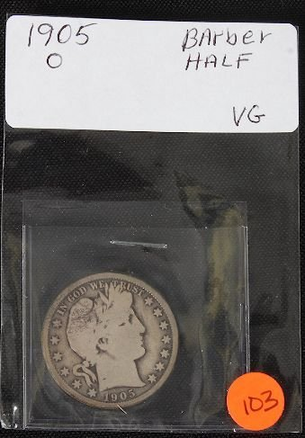 5: 1905-O Barber Half Dollar-VG  - JH103