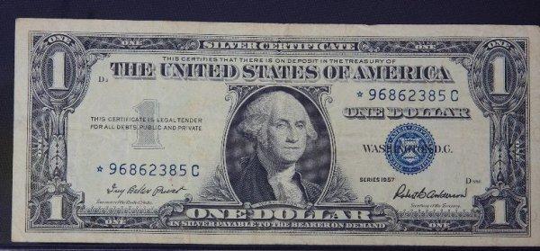 7: 1957 $1.00 Washington Silver Certificate PM1390