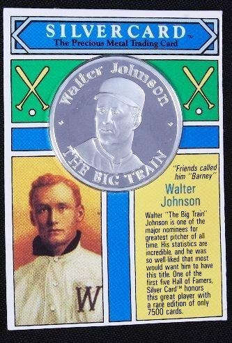 14: Walter Johnson .99 Silver Coin Silvercard #8