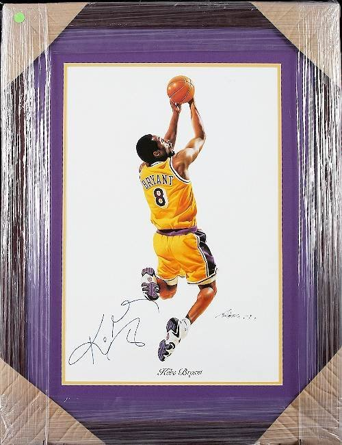 18: Kobe Bryant Autographed Lithograph Reverse