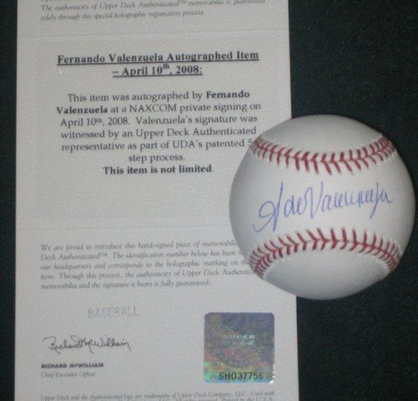 20: Fernando Valenzuela Autographed Baseball UDA