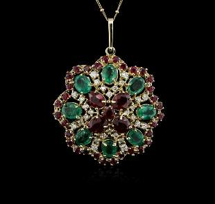 KT Yellow Gold 11.78 ctw Ruby, Emerald and Diamond
