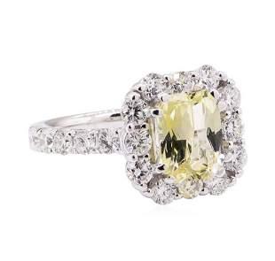 3.19 ctw Yellow Topaz And Diamond Ring - 18KT White