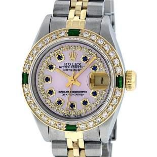 Rolex Ladies 2 Tone Pink MOP Sapphire & Emerald 26MM