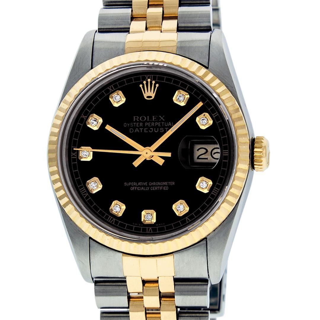 Rolex Mens 2 Tone Black Diamond 36MM Datejust