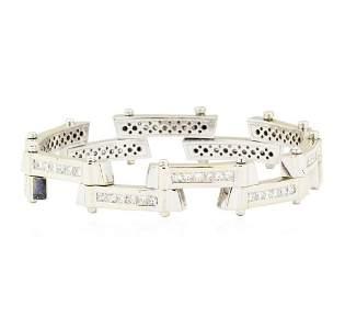 7.75 ctw Diamond Staggered Bar Bracelet - 18KT White
