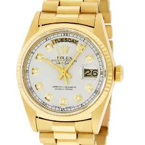 Rolex Mens 18K Yellow Gold Silver Diamond Quickset