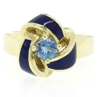 Vintage 14K Yellow Gold FINE Aquamarine & Blue Enamel