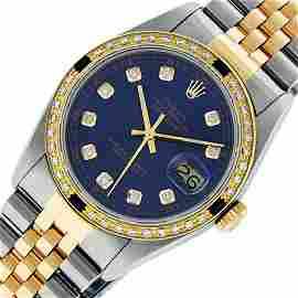 Rolex Mens 2 Tone Blue Diamond & Sapphire Oyster