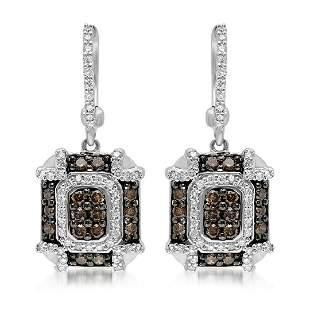 14k White Gold 1.04CTW Diamond and Brown Diamonds
