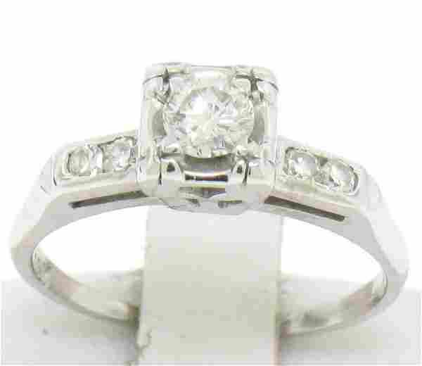 Vintage 14K White Gold 0.37 ctw Diamond Engagement Ring