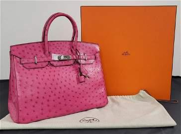 Hermes Birkin 35 featured in Pink Ostrich