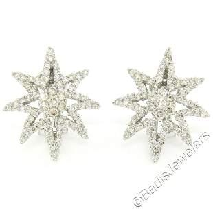 18kt White Gold 3.35 ctw Diamond Star Burst Cluster