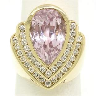 14k Yellow Gold Bezel Pear Morganite & Diamond Channels