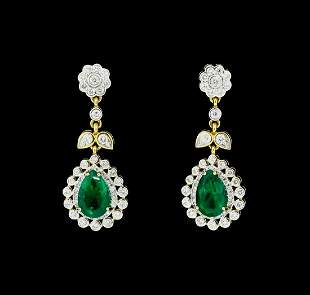 6.05 ctw Pear Brilliant Emerald And Round Brilliant Cut