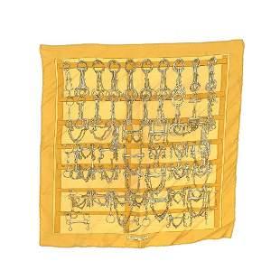 Hermes Yellow Mors et Filets Mini Silk Scarf