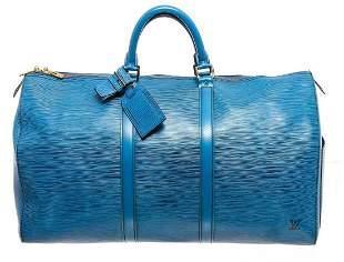 Louis Vuitton Blue Epi Leather Keepall 55 cm Duffle Bag