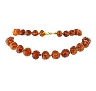 Twenty Nine Inch Baltic Honey Colored Amber Necklace