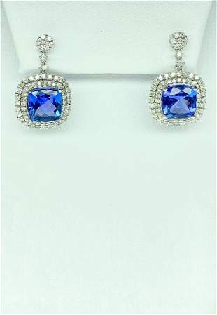 18KT White Gold 5.95 ctw Tanzanite and Diamond Earrings
