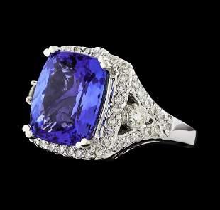 GIA Cert 8.38 ctw Tanzanite and Diamond Ring - 14KT