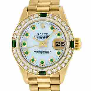 Rolex Ladies 18K Yellow Gold MOP Emerald Oyster