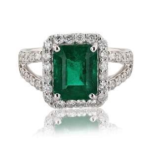 2.64 ctw Emerald and 0.89 ctw Diamond Platinum Ring