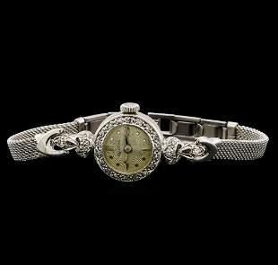Bulova 14KT and 10KT White Gold 0.22 ctw Diamond Ladies