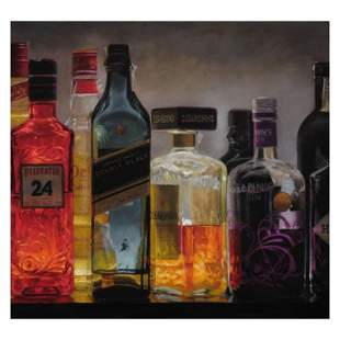 Bottles Illuminating the Night by Romero, Vicente