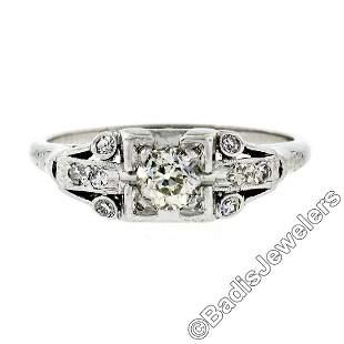 Art Deco Platinum 0.50 ctw Old European Diamond