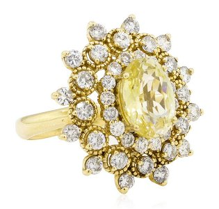 6.09 ctw Oval Mixed Yellow Sapphire And Round Brilliant